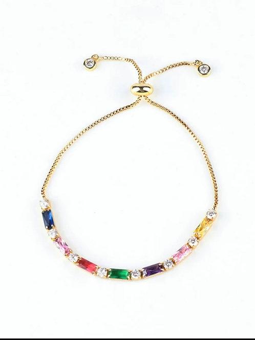 Bridget Rainbow Crystal Slider Bracelet