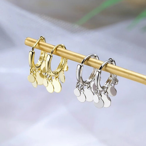 Multi Coin Sterling silver Huggie Earrings - Silver or gold