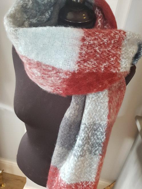 Blue & Burgundy Chunky Knit Scarf