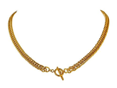 Melanie T Bar Chunky Gold Chain Necklace