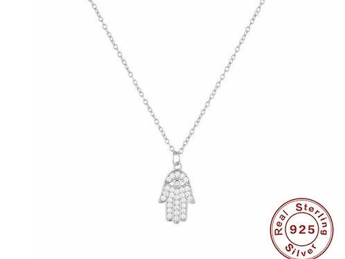 Strength - Hamsa Hand Pendant Necklace - Silver