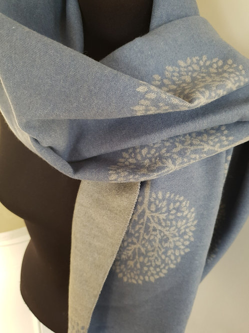 Mulberry Tree Blue Cashmere Mix Scarf