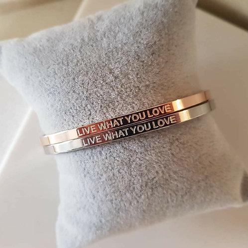 LIVE WHAT YOU LOVE - Engraved Message Mantra Bracelet