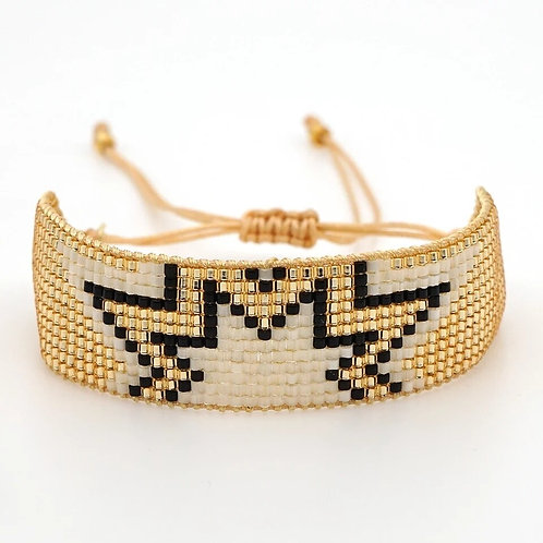 Aztec Gold & Black Seed Bead Friendship Bracelet