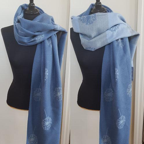 Cashmere Mix Scarf. Dandelion print - blue