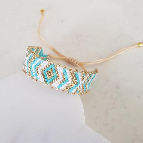 Turquoise & Gold Handmade Seed Bead Friendship Bracelet