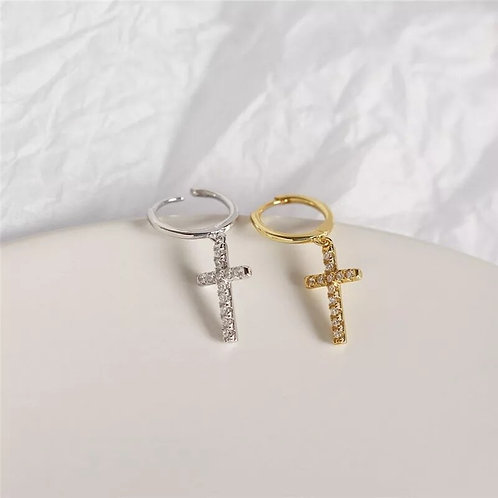 Cross Pendant Huggie Earrings - silver or gold