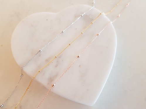 Sterling Silver Fine Choker - Silver, rose gold or gold