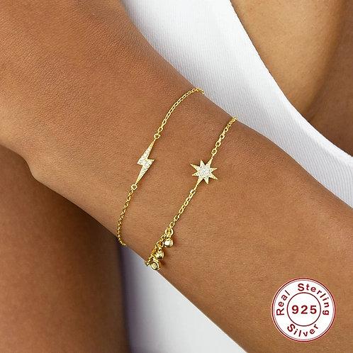 Storm Gold Bracelets - Lightning or Sun