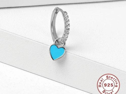 Turquoise Heart Huggie Hoop Earrings - silver or gold