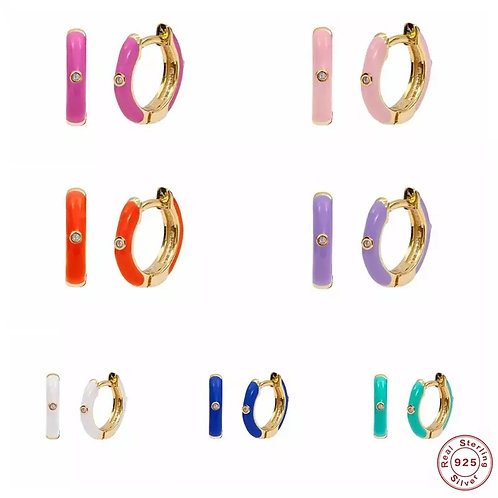 Bright Enamel Huggie Hoops, Gold - 9mm
