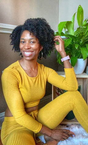 Yellow Jumpsuit with plant