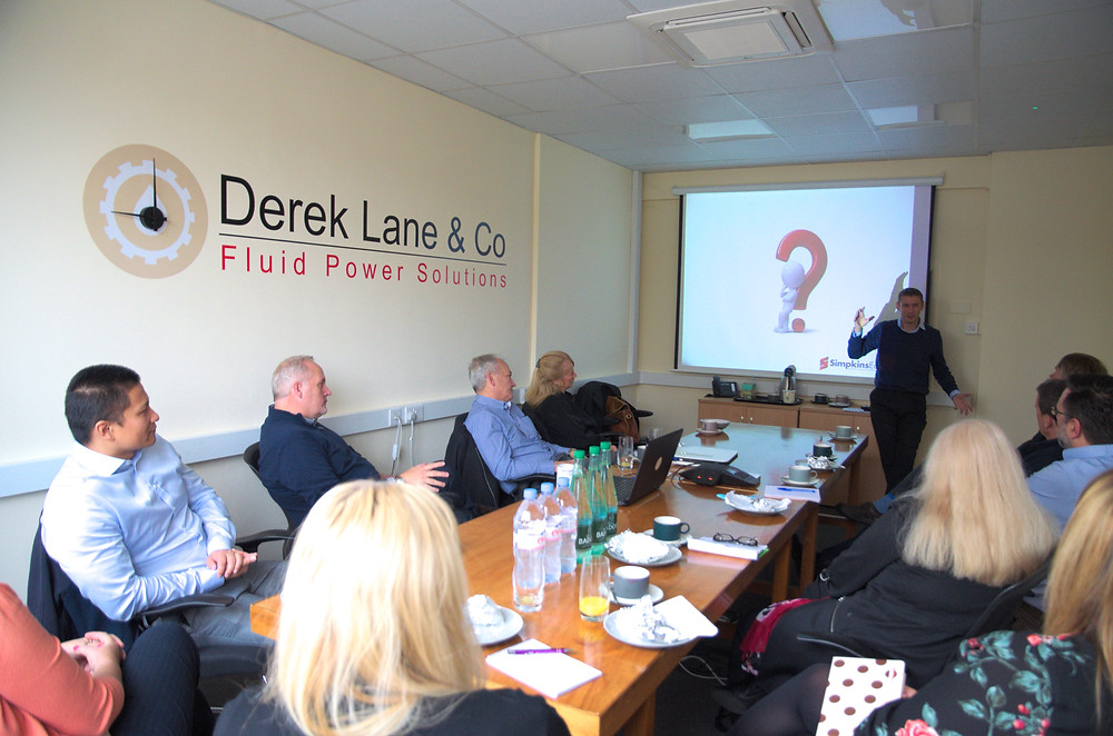 Jean-Paul Quertier from Simpkins Edwards talking to the attendees at Derek Lane & Co: a Hydraulics, Pneumatics and Engineering company in Newton Abbot, Devon.