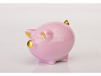 Realiste collection, pig, pink pig, pink and gold, porcelain figure