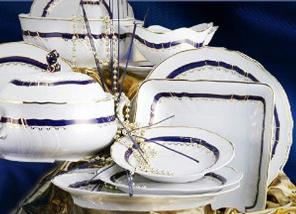 Blue Rose Dinnerware Set