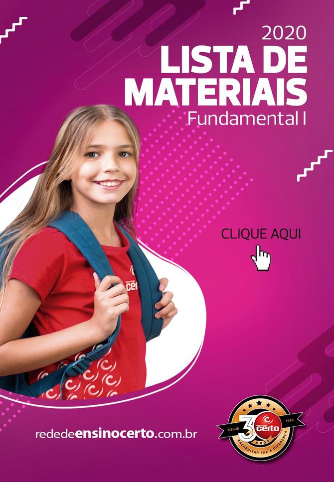 LISTA DE MATERIAIS - FUNDAMENTAL I