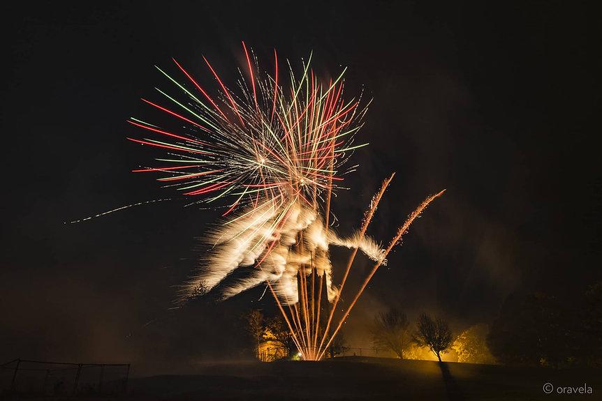 fireworks burst over Lancaster castle for bonfire night