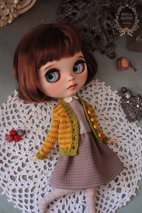 Striped cardigan for 1/6 doll. Mustard and olive