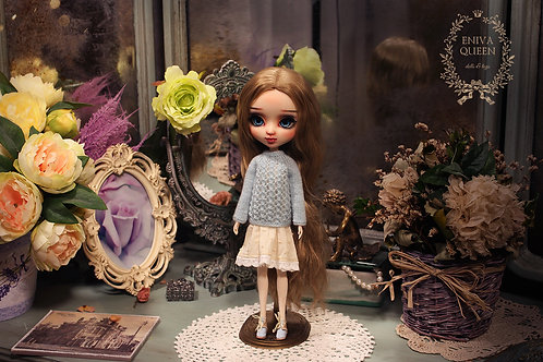 Knitted blue openwork sweater for Pullip, Blythe