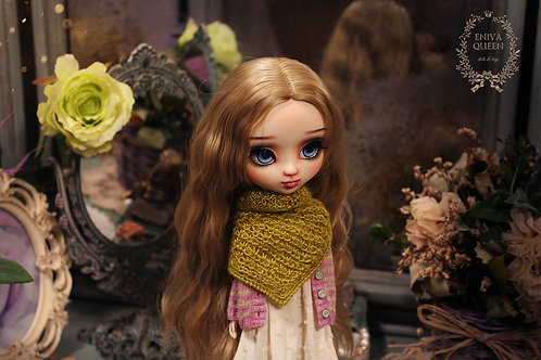 Openwork shawl for Pullip, Blythe. Color of spring foliage