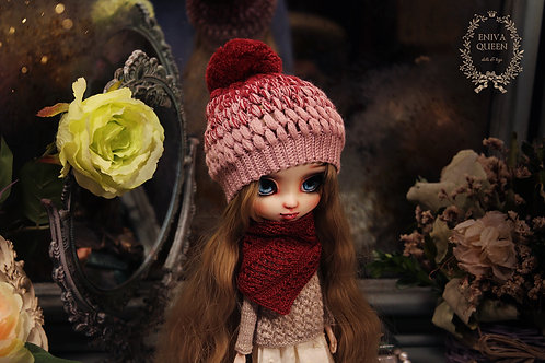 Openwork shawl for Pullip, Blythe. Red color
