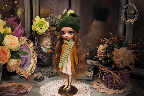 Dark green beanie hat for Pullip