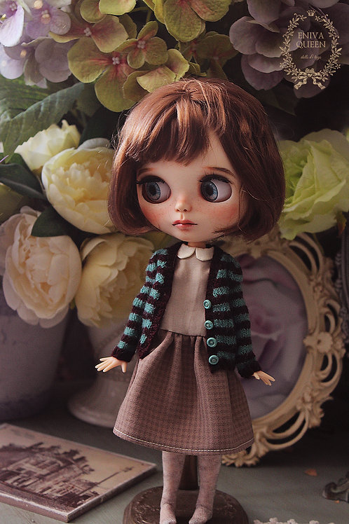 Striped cardigan for 1/6 doll. Mint and burgundy
