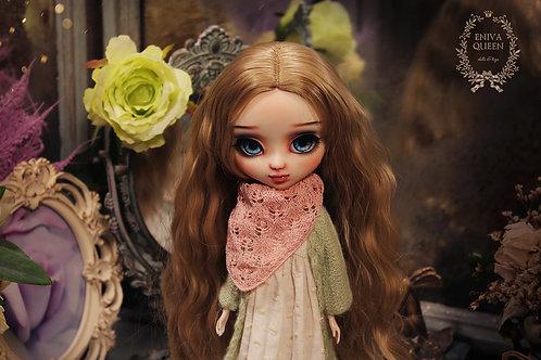 Openwork shawl for Pullip, Blythe. Pink color