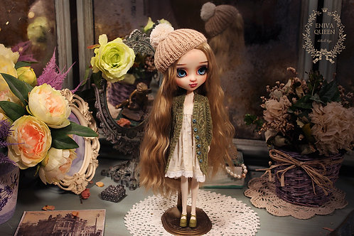 Green cardigan with aran pattern for Pullip