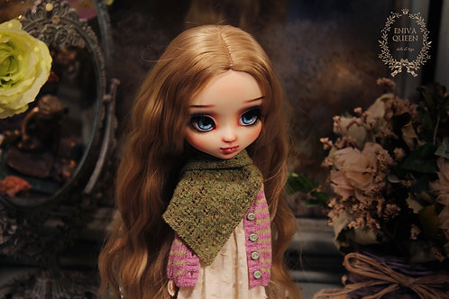 Shawl with rhombus pattern for Pullip, Blythe. Green color