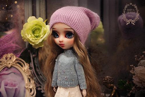 Purple beanie hat for Pullip