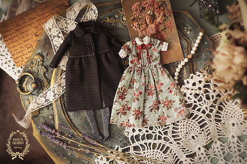"""Vintage clothes set for Pullip. Collection """"Forest girls"""": Roses on blue"""