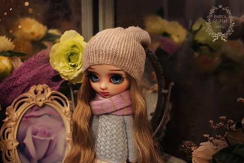 Gray beanie hat for Pullip