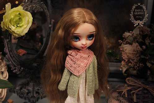 Shawl with rhombus pattern for Pullip, Blythe. Pink color