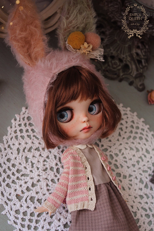 Striped cardigan for 1/6 doll. Pink and milk