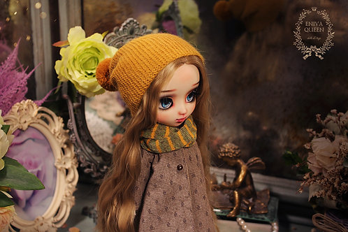 Mustard color beanie hat for Pullip