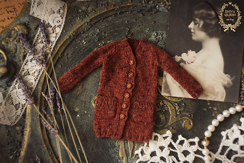 """Brown melange cardigan with  pockets for 1/6 dolls. Collection""""Forest girls"""""""