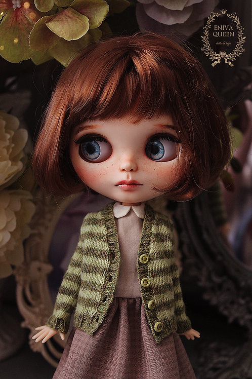 Striped cardigan for 1/6 doll. Green and dark green