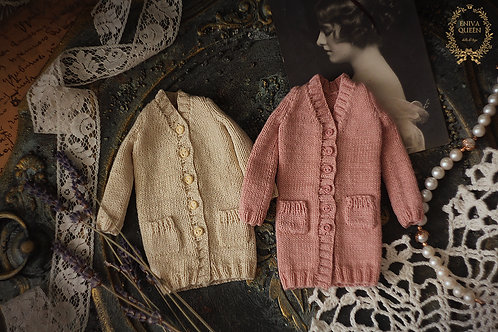 """Knitted cardigan with pockets for 1/6 doll. Collection""""Forest girls"""""""