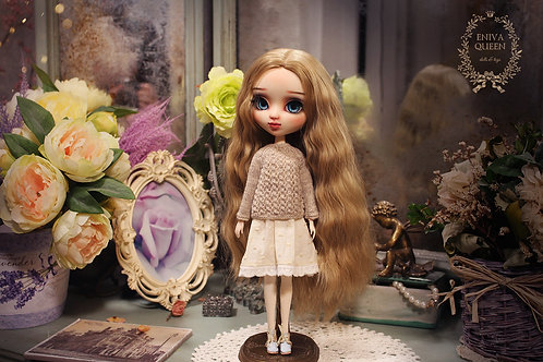 Knitted gray openwork sweater for Pullip, Blythe