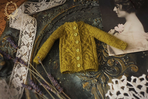 Olive cardigan with aran pattern for1/6 dolls