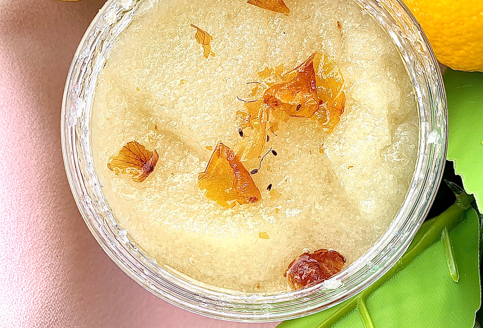 Lemon Rose Sugar Scrub   3-in 1 Lip, Face, Body Scrub 6 oz.