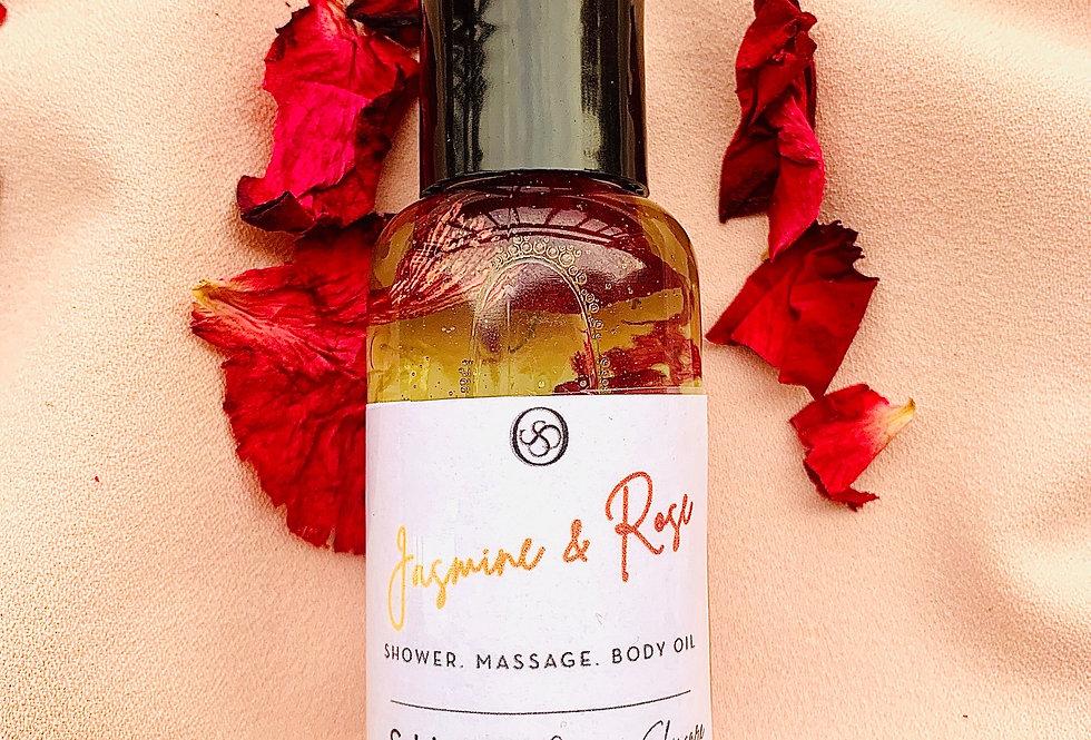 Jasmine and Rose Shower & Body Oil| Flower Blend 2/4 oz