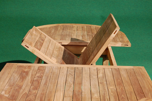 Teak Oval Extending Table And Stacking Chairs - Teak oval extending table