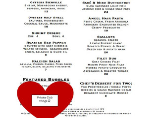 Valentine's Weekend Menu