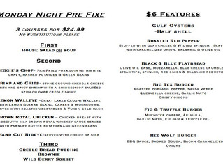Monday Night 3 Course Pre Fixe $24.99!