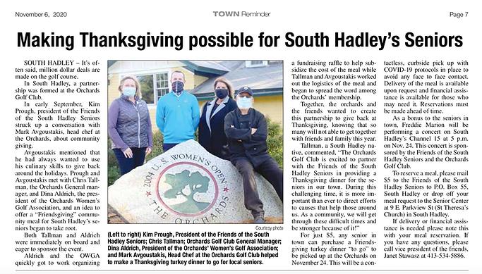 Town Reminder Friends of SH Seniors Friendsgiving Article