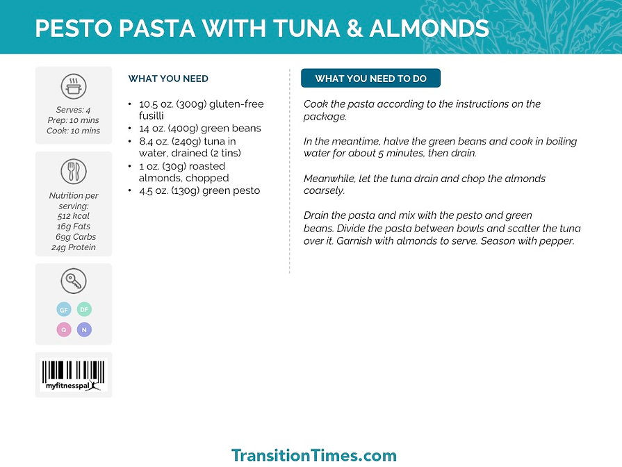 PESTO PASTA WITH TUNA & ALMONDS