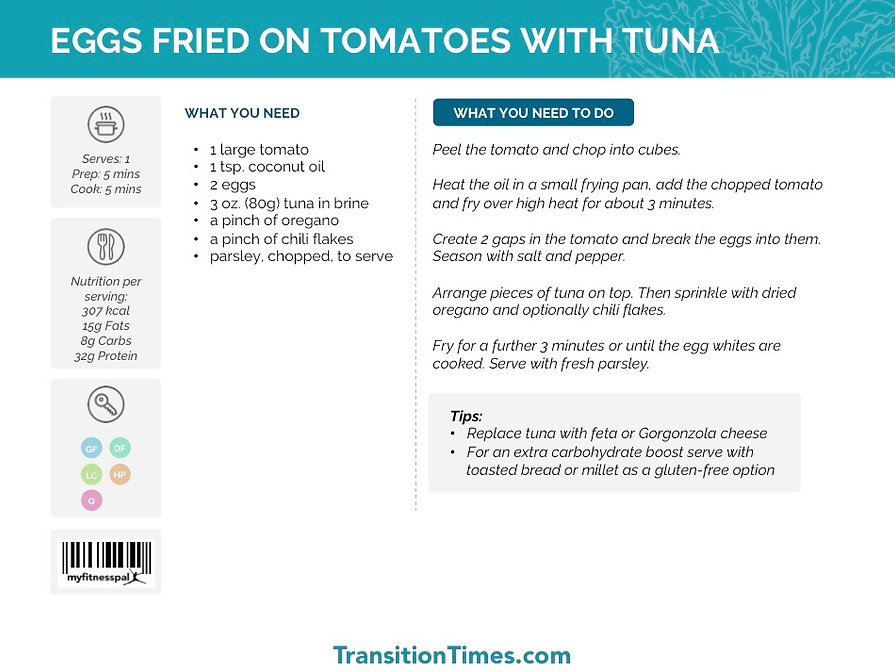 EGGS FRIED ON TOMATOES WITH TUNA