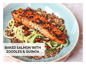 BAKED SALMON WITH ZOODLES & QUINOA